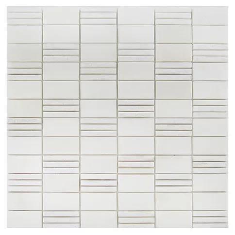 Stone Mosaic Oriental White 1x2  Polished, Bush Hammered Marble