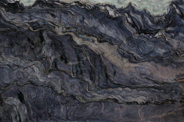 Quartzite Explosion Blue 57x120 0.75 in Leather Quartz Slab