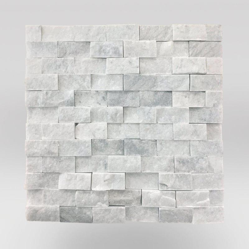 Marble White Carrara 1x2 Brick Split-Face   Mosaic