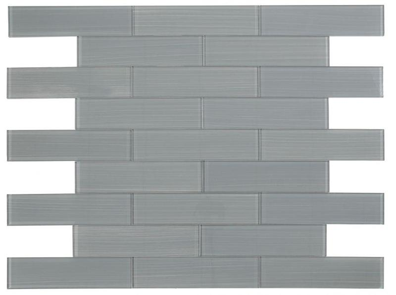 Large Glass Tile Lucy Grey Painting Subway Glossy   Mosaic