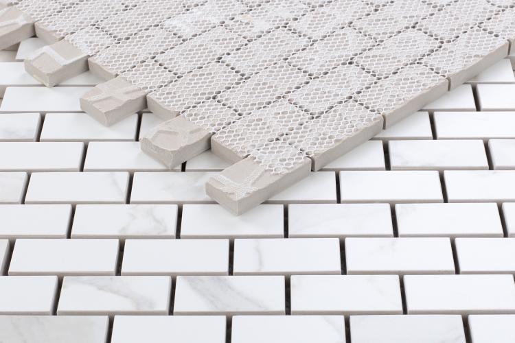 Calacatta Dorado 1x2 Brick Polished, Glazed Porcelain  Mosaic