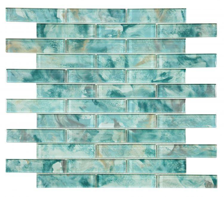 Linear Glass Watercolor Green Glossy   Mosaic