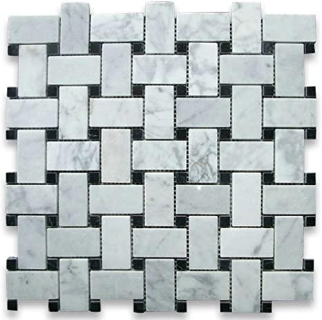 Carrara White 1x2 Basketweave W/ Black Dots Polished Marble  Mosaic