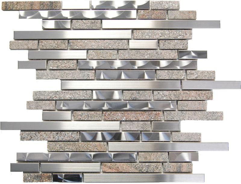 Stainless Steel Mosaics Dorado Hb Ygt007-5 Brown Stone Mix Linear Polished   Mosaic (Discontinued)
