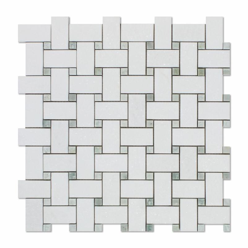Marble Thassos White Basketweave W Grey Dot Honed   Mosaic