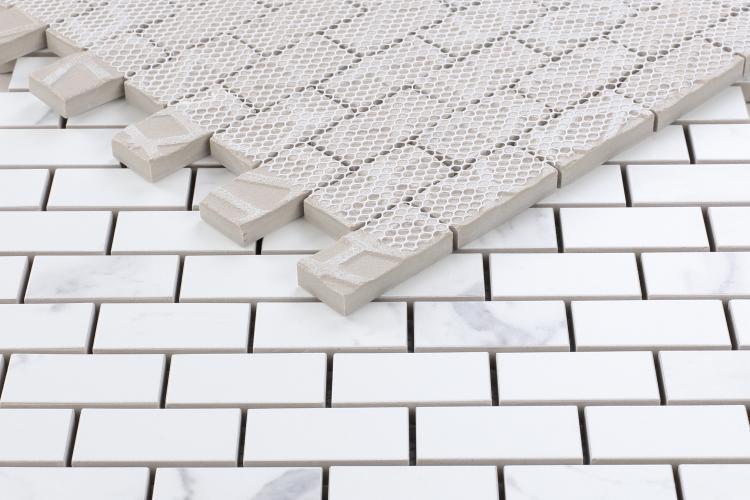 Carrara Premium 1x2 Brick Polished Porcelain  Mosaic