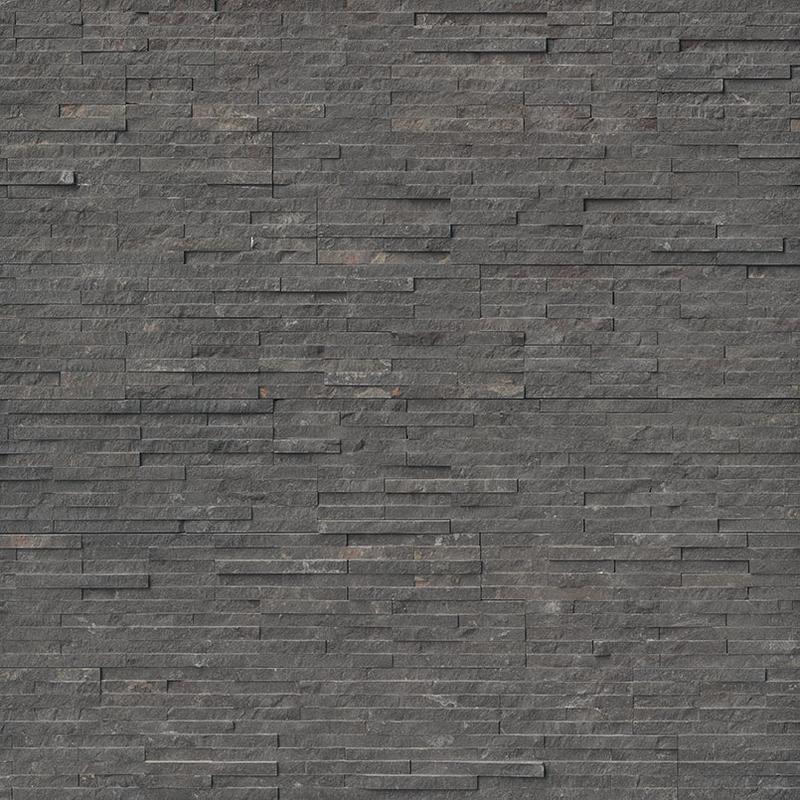 Stacked Stone Rockmount Charcoal 6x24, Split-Face, Black, Ledger-Panel, Marble, Tile
