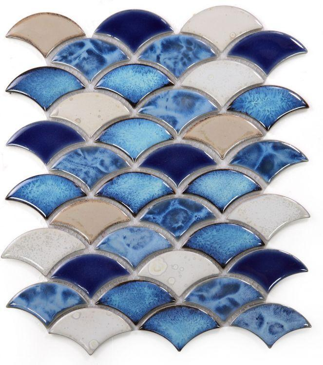 Dragon Scale Blue Porcelain  Mosaic