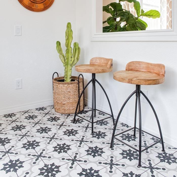 Cementine Black And White B W 2 8x8, Glazed, Porcelain, Tile