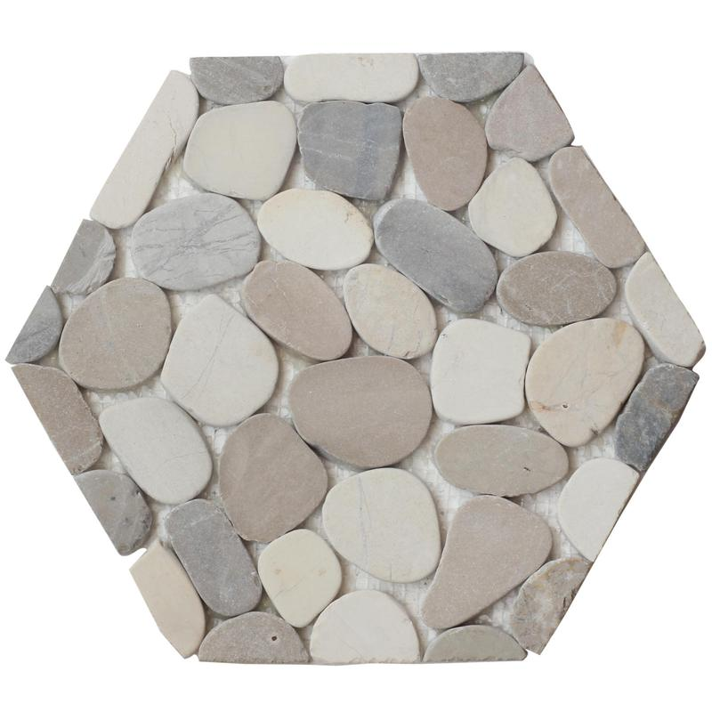 Pebble Mosaics Hexagon Café Matte   Mosaic