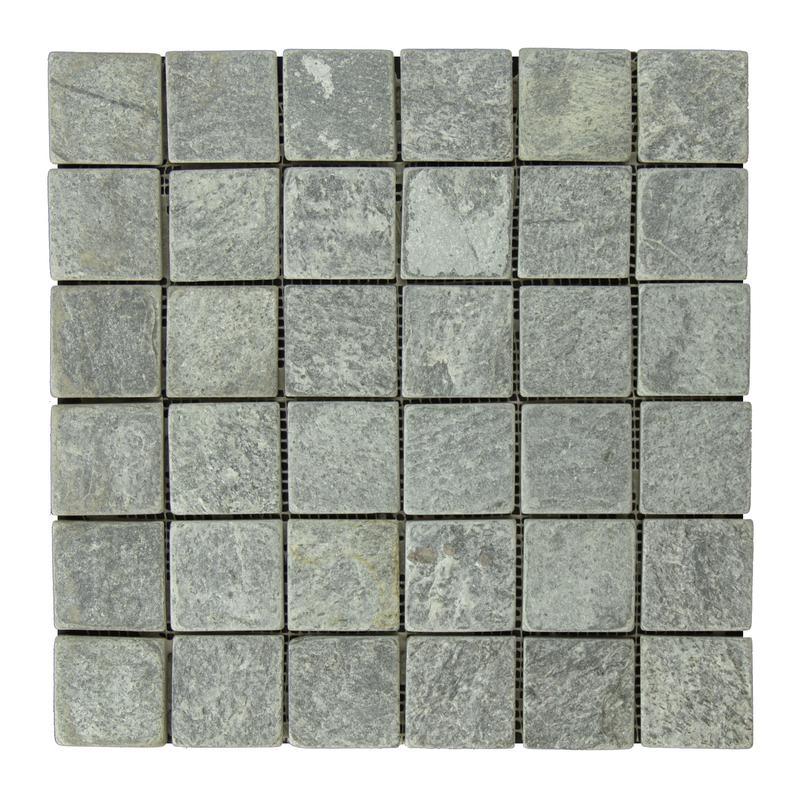 Quartzite Ostrich Grey 2x2 Square Tumbled   Mosaic
