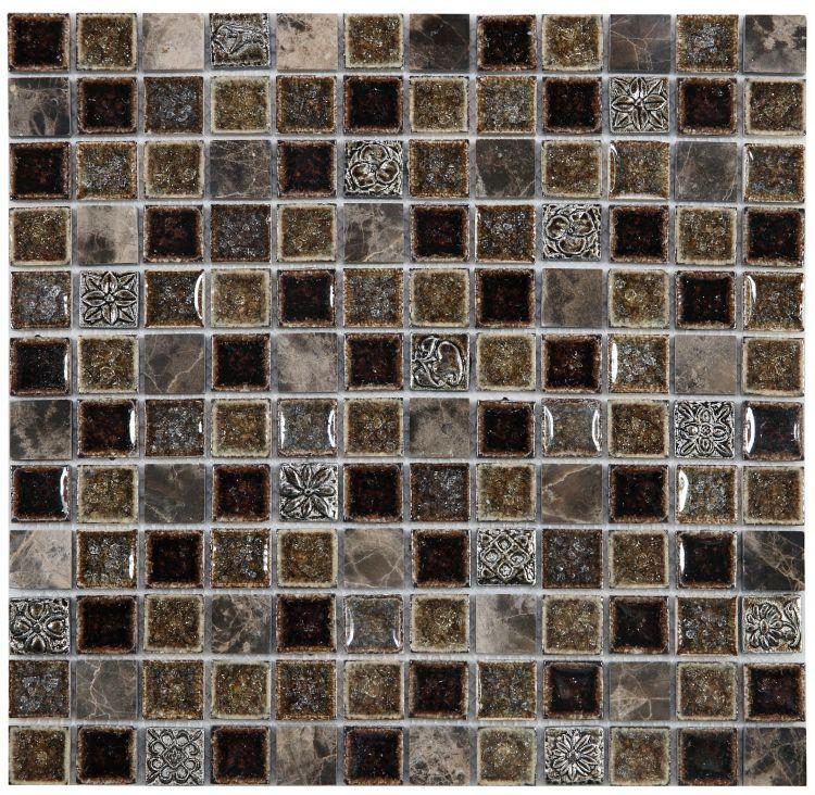 Jewel Swiss Emperador 1x1 Square  Glass  Mosaic