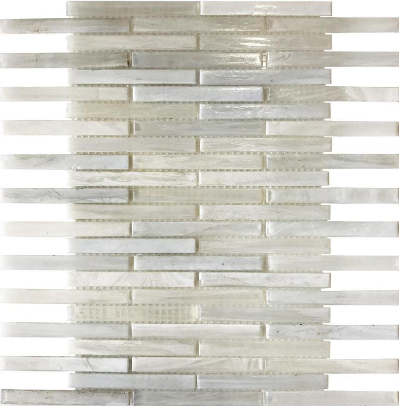 Stained White Glossy Glass  Mosaic