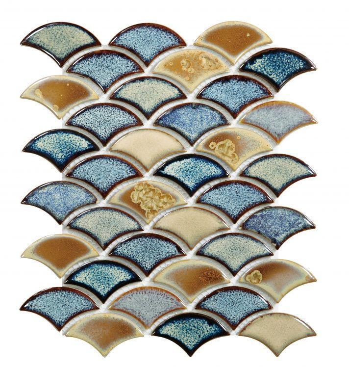 Dragon Scale Olive Porcelain  Mosaic