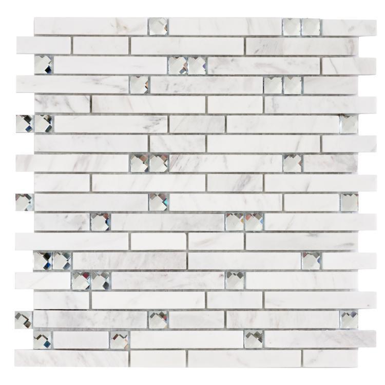 Linear Glass Crystal Carrara Stack Mosaic