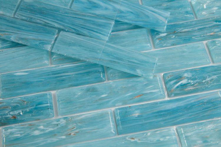 Hot Clear Blue Long Linear  Glass  Mosaic
