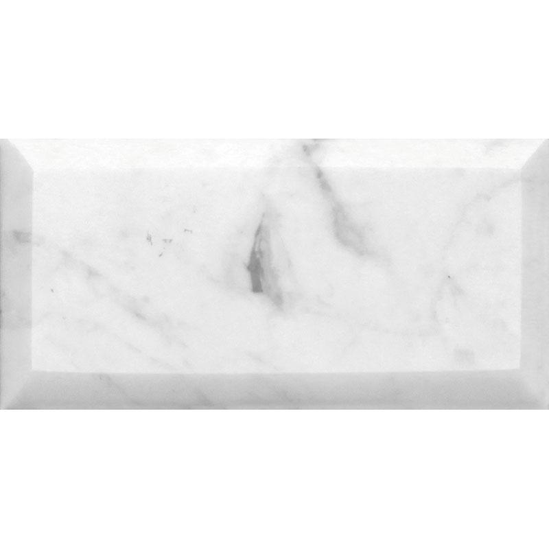 White Carrara Marble Tile 3x6 Honed Beveled