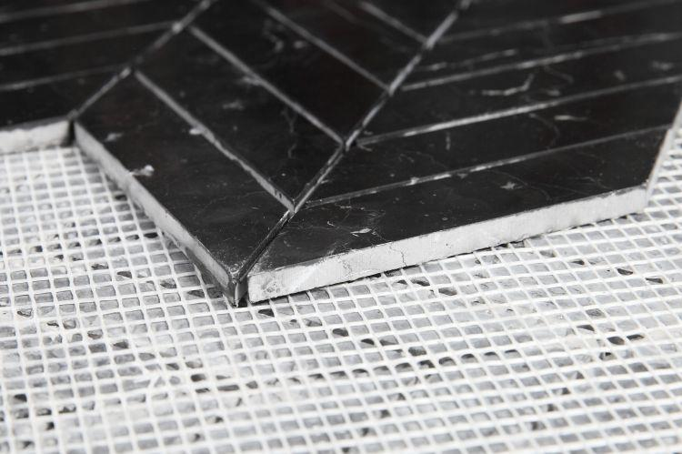 Chevron Herringbone Marquina Honed Marble  Mosaic