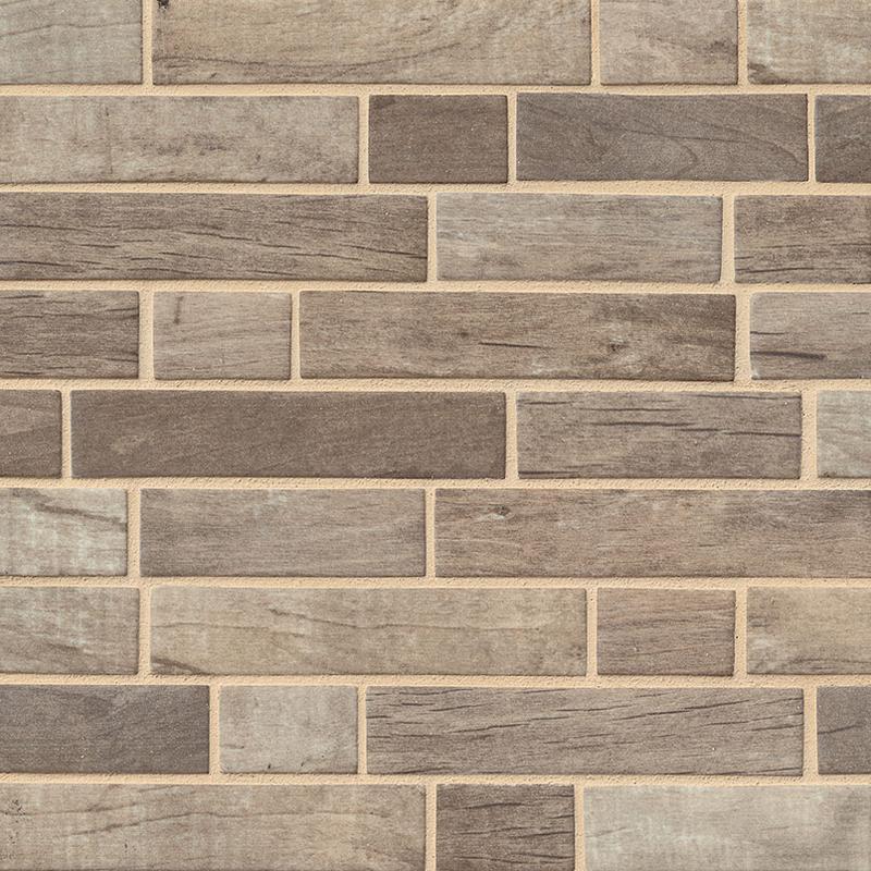 Backsplash Wall Tile Decorative Mosaics Driftwood Matte, Brown, Interlocking, Glass, Mosaic