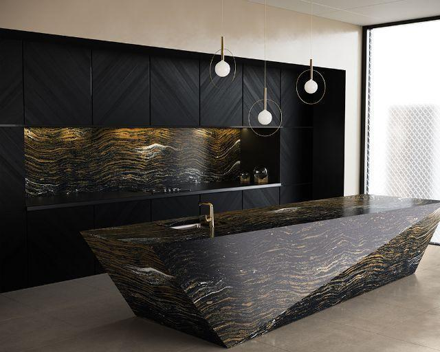 Luxury Golden Dragon 65.5x132, 3 cm, Polished, Black, Gold, Quartz, Slab