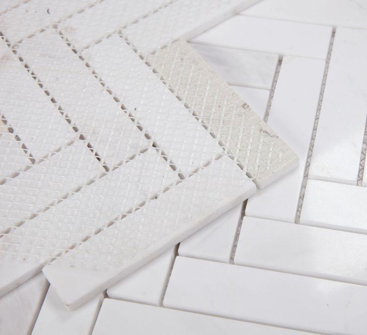 Chevron Herringbone White Polished Marble  Mosaic