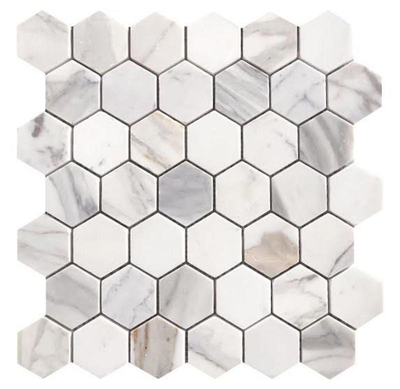 Hexagon Calacatta Gold 2x2  Polished Marble  Mosaic