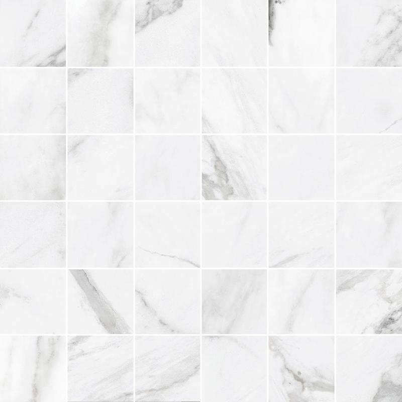 Statuary Ii White Square Glazed Porcelain  Mosaic