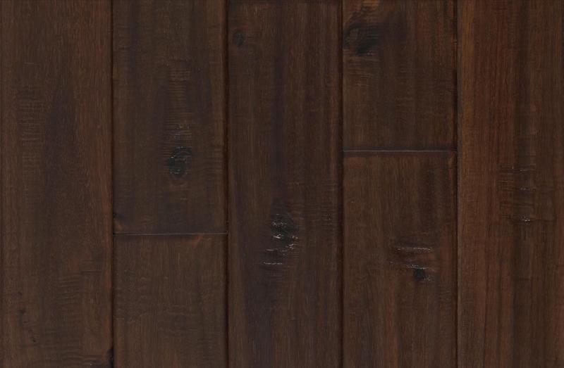 Engineered Selections Exotic Walnut 4.75xfree length, Hand-Scraped, Dark Brown, Acacia, Engineered-Wood