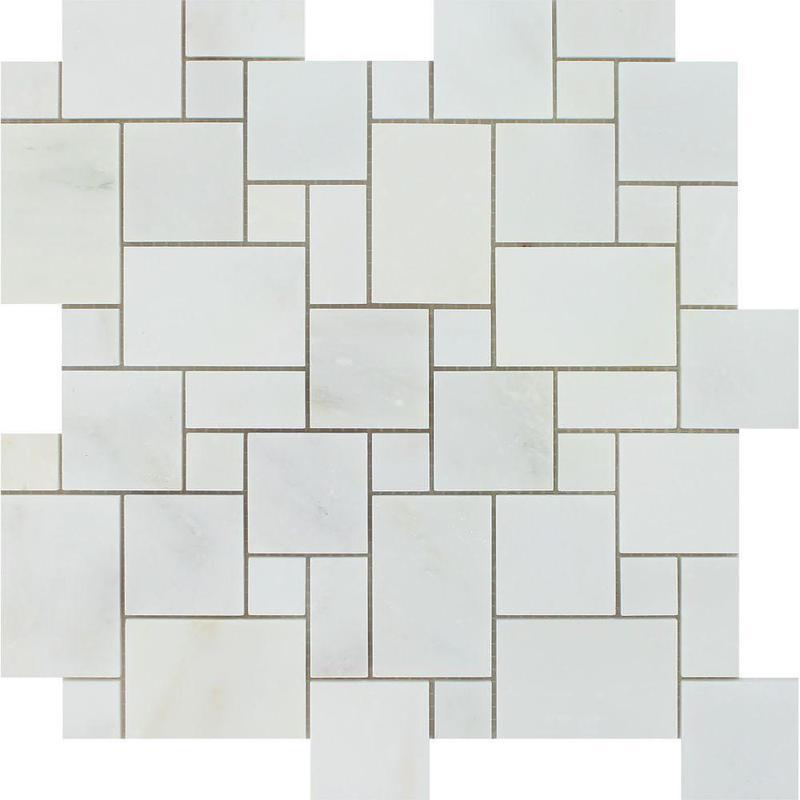 Marble Oriental White Versailles Honed   Mosaic
