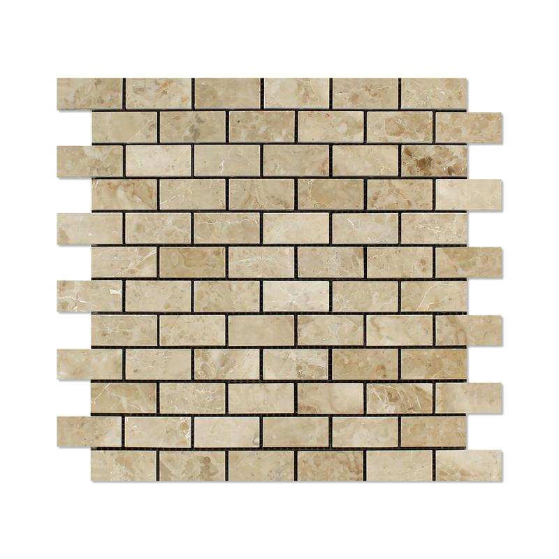 Marble Crema Cappuccino 1x2 Brick Polished   Mosaic