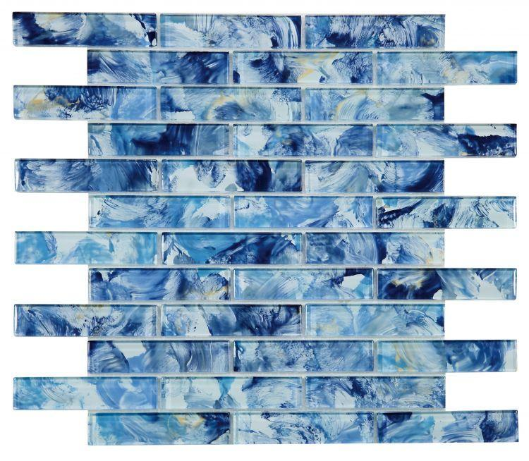 Linear Glass Watercolor Blue Glossy   Mosaic