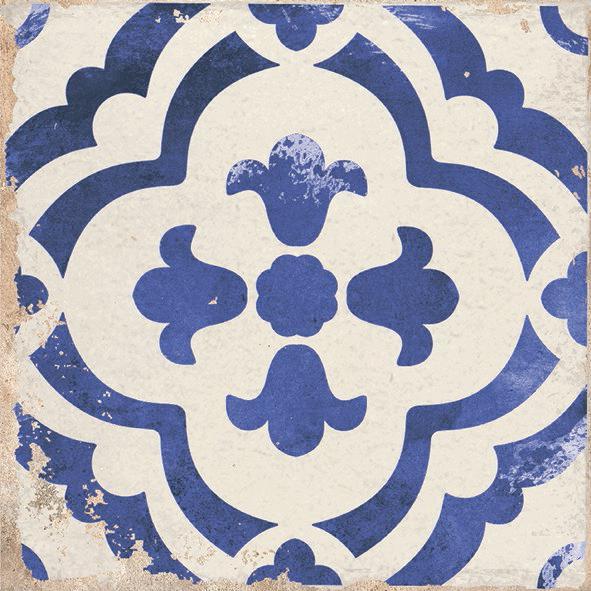Village Monte Blue 6x6, Glazed, White, Square, Porcelain, Tile