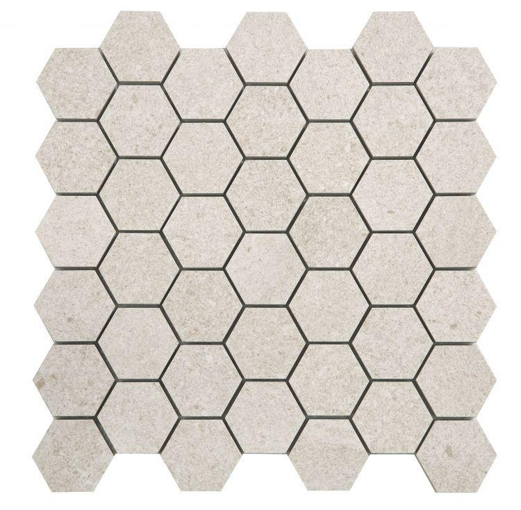 Grant Beige 2x2 Hexagon Matte, Glazed Porcelain  Mosaic