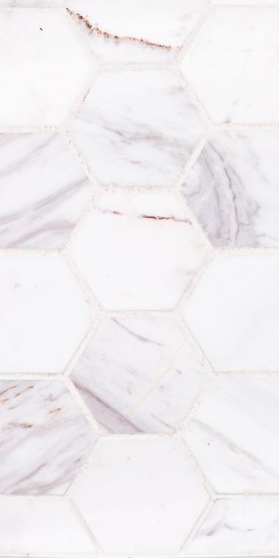 Sto Re Volakas 2-1/2x2-1/2 Hexagon Polished Natural Stone  Mosaic