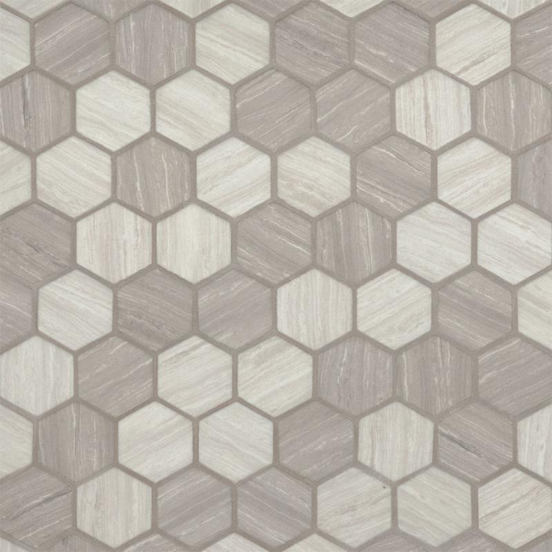 Backsplash Wall Tile Decorative Mosaics Silva Oak 2 in, Glass, Beige, Hexagon, Mosaic