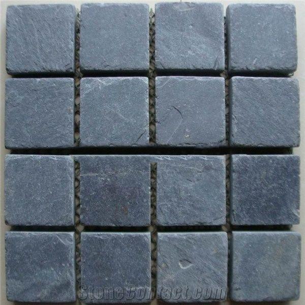 Slate Black 2x2 Square Tumbled   Mosaic