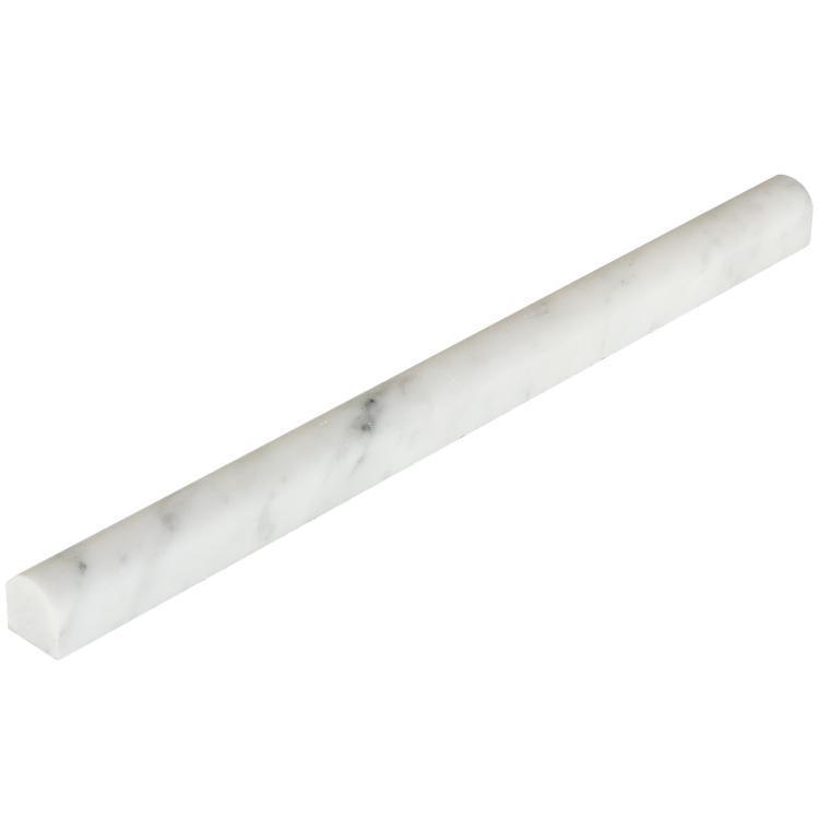 Precious Stone Carrara Polished 0.75x12 Marble Pencil Liner