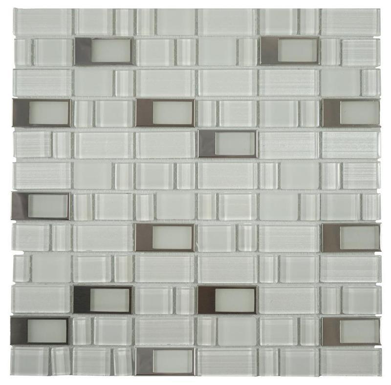 Blends Super White Mix 0.38x0.38  Glossy, Matte Mixed  Mosaic