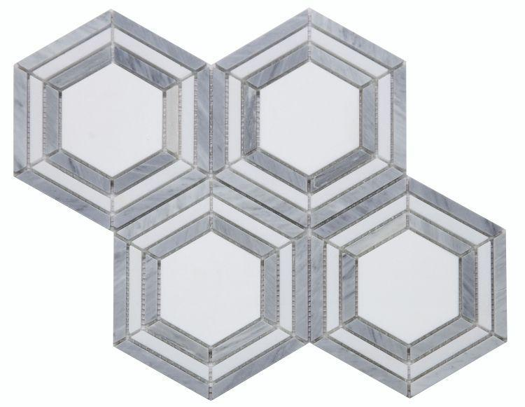 Hexagon Nancy Blue Polished Marble  Mosaic