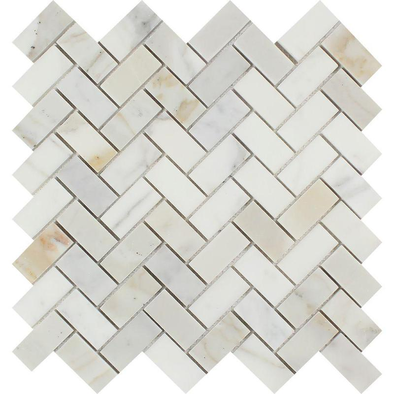 Marble Calacatta Gold 1x2 Herringbone Polished   Mosaic