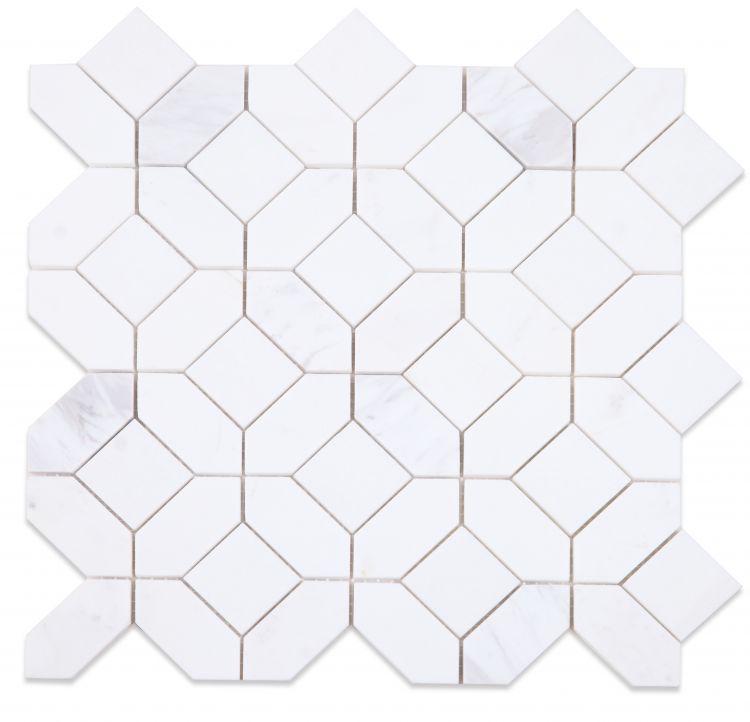 Eclipse White Hexagon Polished Marble  Mosaic