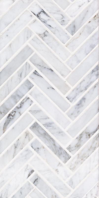 Sto Re Carrara 5/8x3 Herringbone Polished Natural Stone  Mosaic