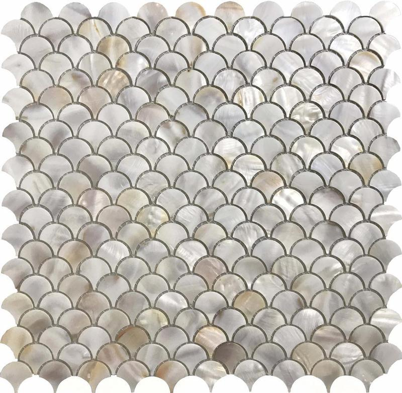 Shell Oyster Fish Scale Natural   Mosaic