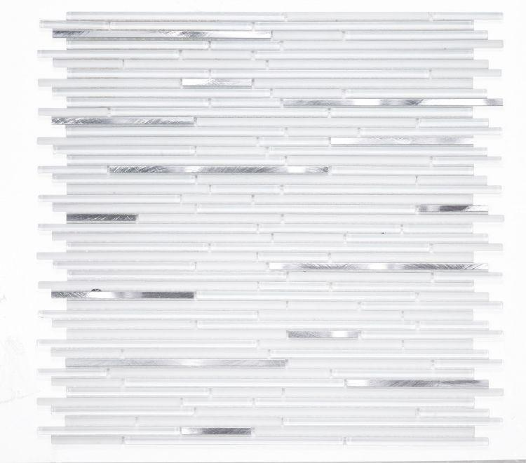 Metal Whiskers White Linear  Glass  Mosaic