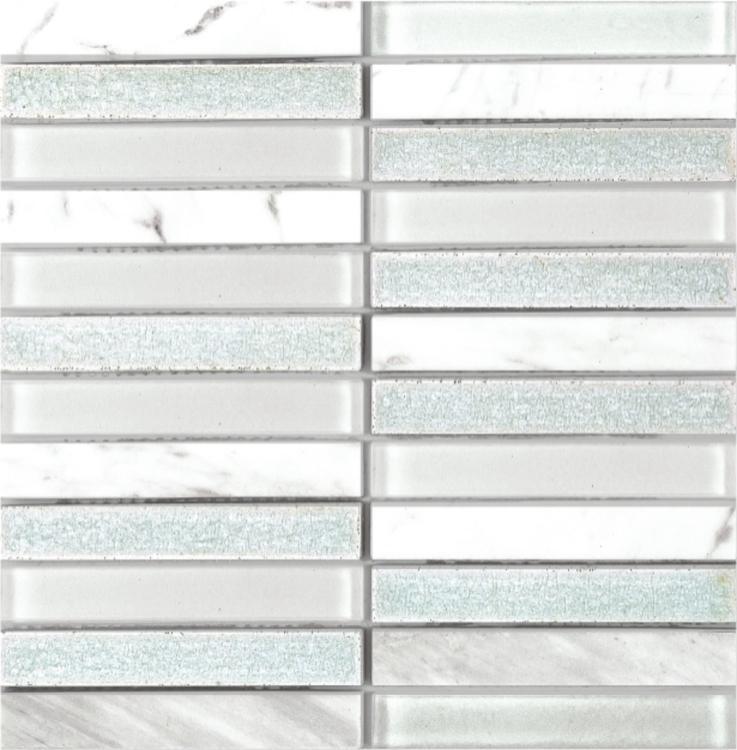 Jewel Fairy Tuxedo 1x6 Linear  Glass  Mosaic