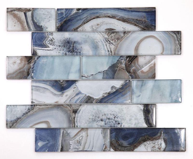 Shell Casale Blue Subway Glossy Glass  Mosaic