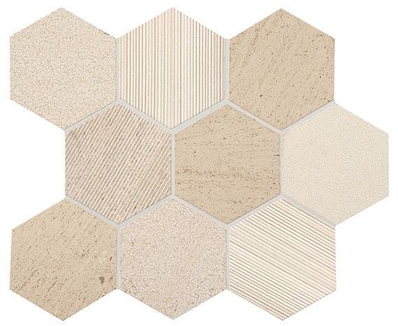 Ascend Stone Honest Greige 4 in, Textured, Natural-Stone, Mosaic